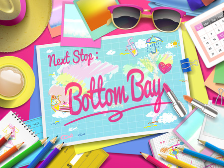 Bottom Bay on map, top view of colorful travel essentials on table Illustration