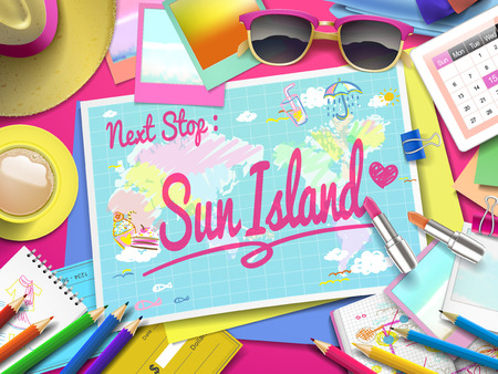 maldives island: Sun Island Beach on map, top view of colorful travel essentials on table