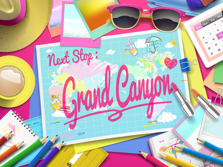 grand canyon: Grand canyon on map, top view of colorful travel essentials on table Illustration