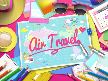 air travel: Air travel on map, top view of colorful travel essentials on table