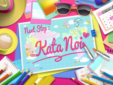 kata: Kata Noi on map, top view of colorful travel essentials on table Illustration