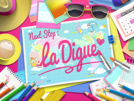 la: La Digue on map, top view of colorful travel essentials on table