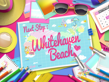 whitehaven: Whitehaven Beach on map, top view of colorful travel essentials on table Illustration