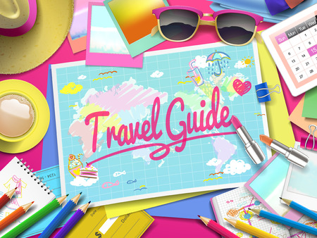 travel guide: Travel Guide on map, top view of colorful travel essentials on table Illustration