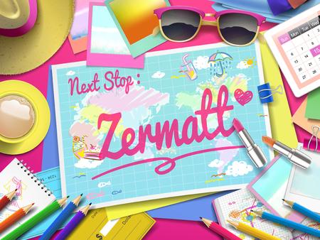 zermatt: Zermatt on map, top view of colorful travel essentials on table Illustration