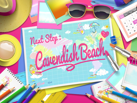 Cavendish Beach on map, top view of colorful travel essentials on table