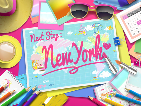 populous: New york on map, top view of colorful travel essentials on table