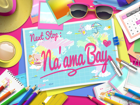 naama bay: Naama bay on map, top view of colorful travel essentials on table Illustration