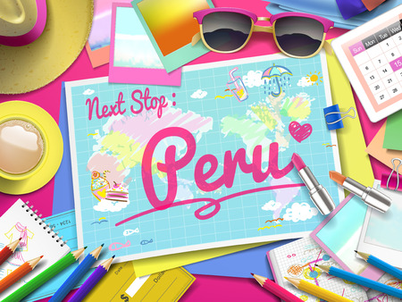 adventurer: Peru on map, top view of colorful travel essentials on table Illustration