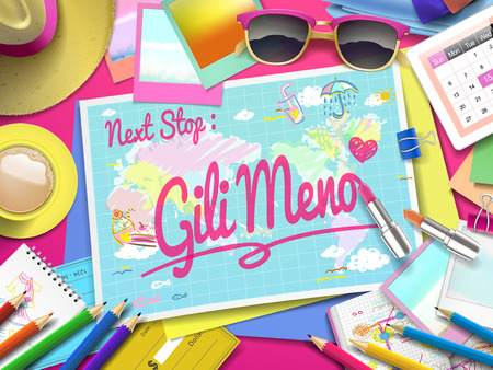 sea view: Gili Meno Beach on map, top view of colorful travel essentials on table
