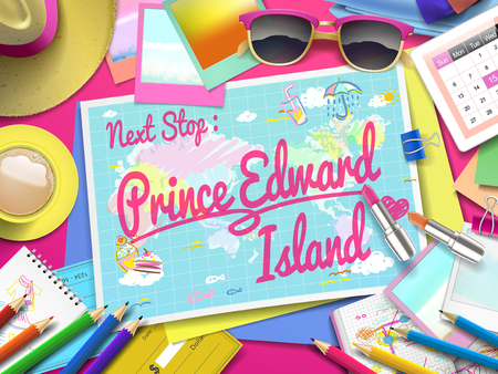 edward: Prince Edward Island on map, top view of colorful travel essentials on table