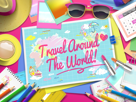top of the world: Travel around the world on map, top view of colorful travel essentials on table