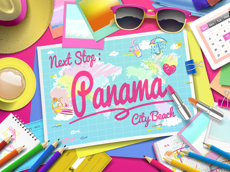 panama hat: Panama City Beach on map, top view of colorful travel essentials on table