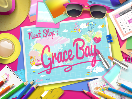adventurer: Grace Bay Beach on map, top view of colorful travel essentials on table Illustration