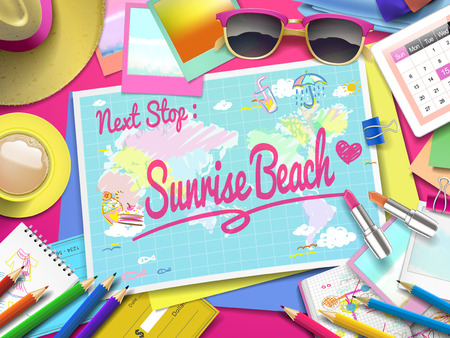 sunrise beach: Sunrise Beach on map, top view of colorful travel essentials on table
