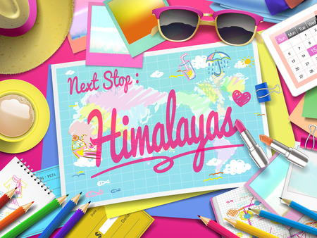 himalayas: Himalayas on map, top view of colorful travel essentials on table