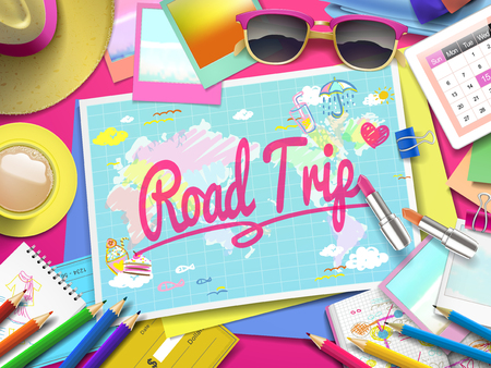 road trip: Road Trip on map, top view of colorful travel essentials on table