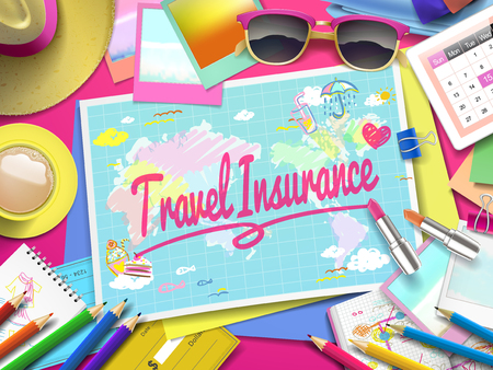 Travel Insurance on map, top view of colorful travel essentials on table