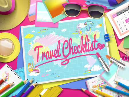 checklist: Travel Checklist on map, top view of colorful travel essentials on table