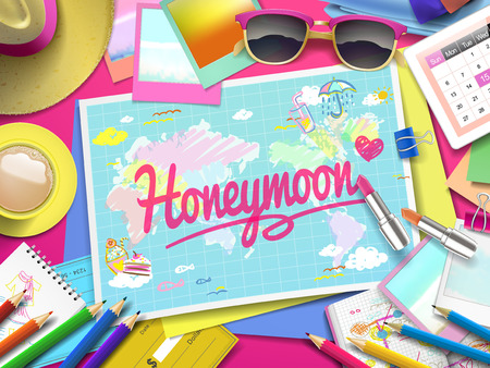 honeymoon: Honeymoon on map, top view of colorful travel essentials on table