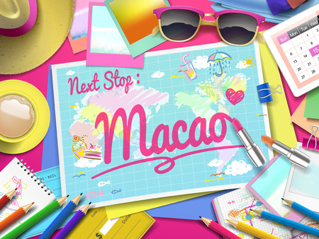 macao: Macao on map, top view of colorful travel essentials on table
