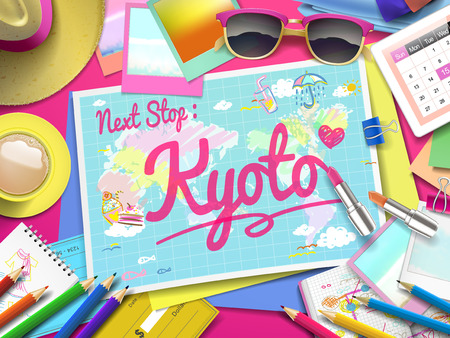 kyoto: Kyoto on map, top view of colorful travel essentials on table Illustration