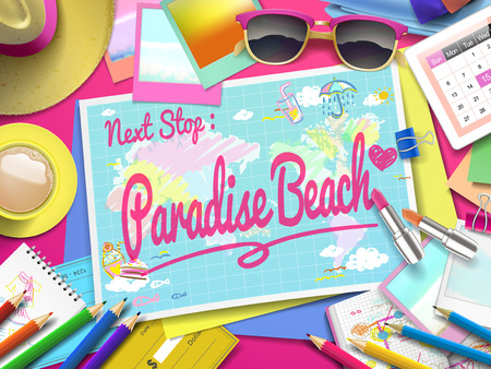 paradise beach: Paradise Beach on map, top view of colorful travel essentials on table