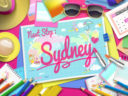 relax: Sydney on map, top view of colorful travel essentials on table Illustration