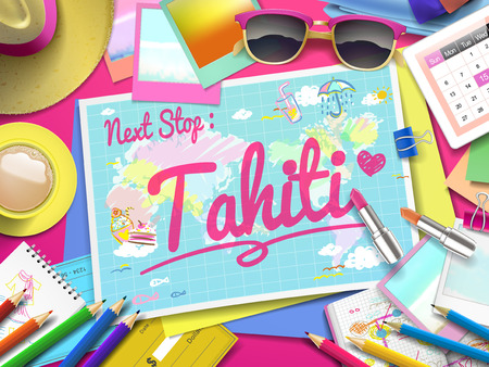 tahiti: Tahiti on map, top view of colorful travel essentials on table
