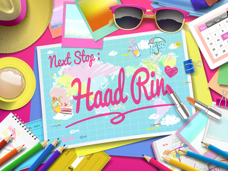 rin: Haad Rin on map, top view of colorful travel essentials on table