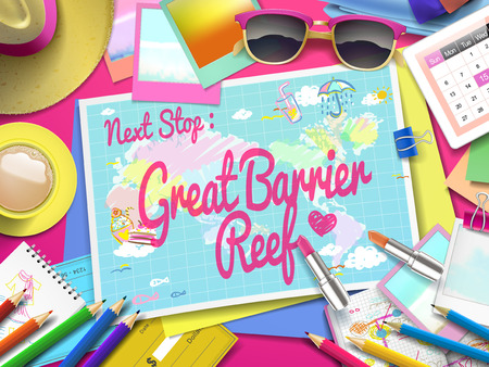 barrier reef: Great Barrier Reef on map, top view of colorful travel essentials on table Illustration
