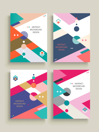 Abstract background pattern design set with colorful geometric elements