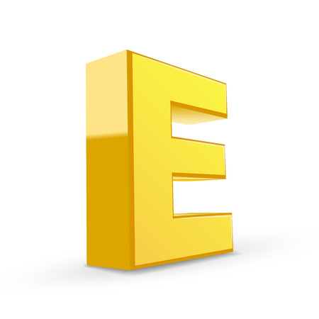 3D image yellow letter E isolated on white background