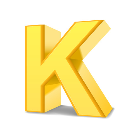 3d image: 3D image yellow letter K isolated on white background Illustration