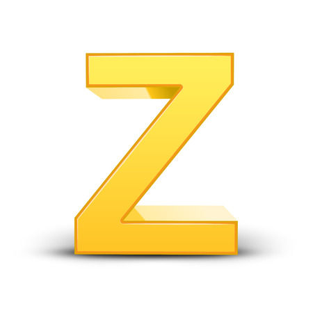 3D image yellow letter Z isolated on white background Illustration