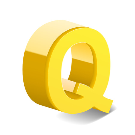 letter q: 3D image yellow letter Q isolated on white background