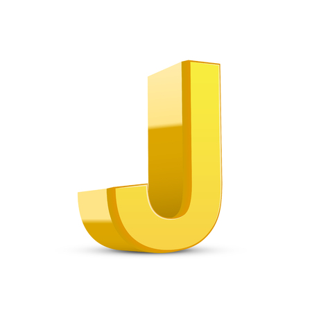 3d image: 3D image yellow letter J isolated on white background Illustration