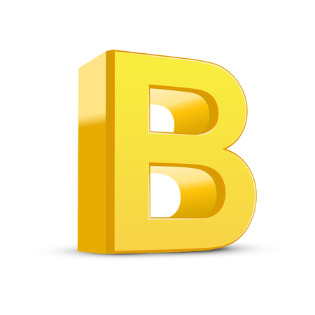3d image: 3D image yellow letter B isolated on white background Illustration