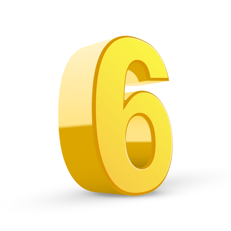 number 6: 3D image shiny yellow number 6 isolated on white background