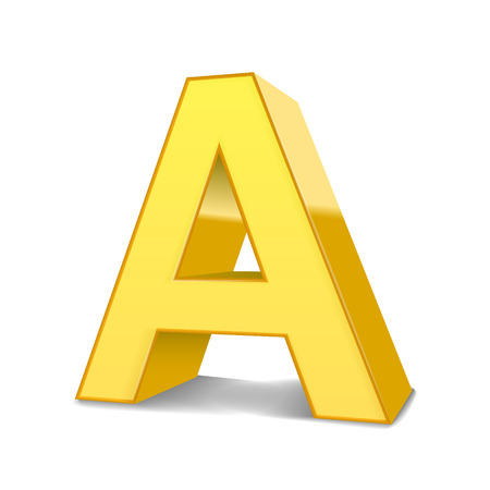 3d image: 3D image yellow letter A isolated on white background
