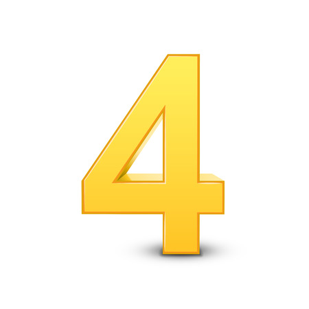 number 4: 3D image shiny yellow number 4 isolated on white background