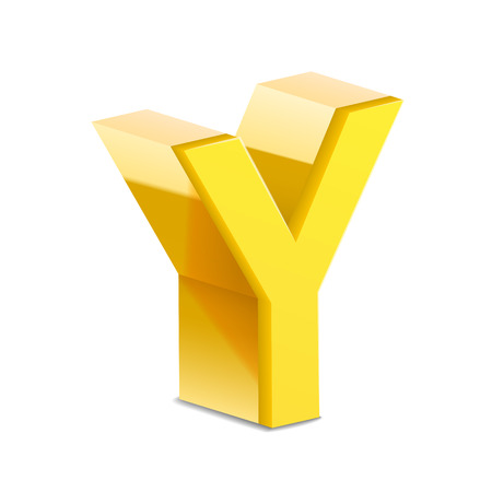 3d image: 3D image yellow letter Y isolated on white background Illustration