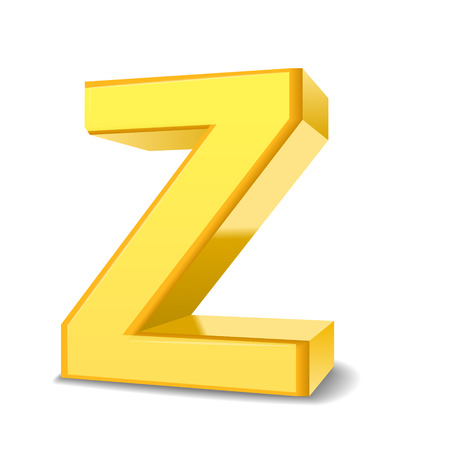 single word: 3D image yellow letter Z isolated on white background Illustration