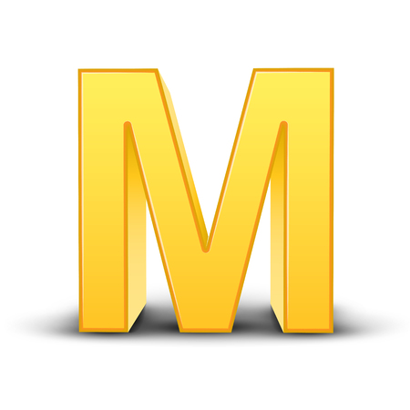 single word: 3D image yellow letter M isolated on white background