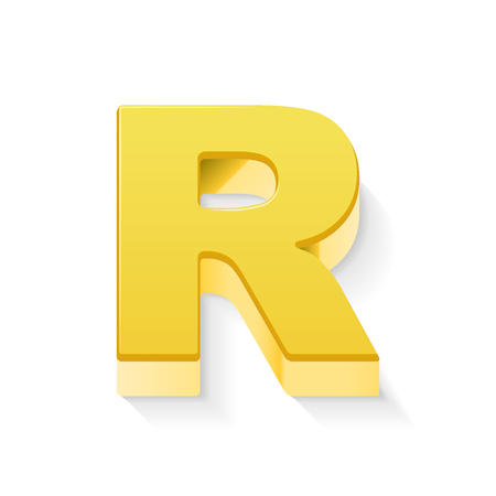 3D image yellow letter R isolated on white background