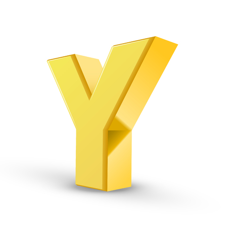 3D image yellow letter Y isolated on white background Illustration