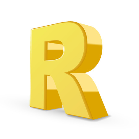 r image: 3D image yellow letter R isolated on white background