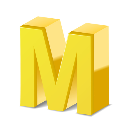 3D image yellow letter M isolated on white background