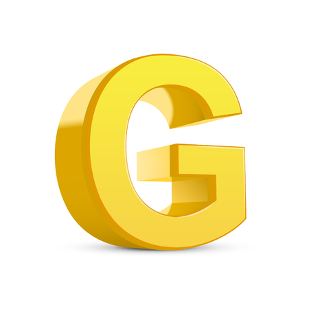 g alphabet: 3D image yellow letter G isolated on white background