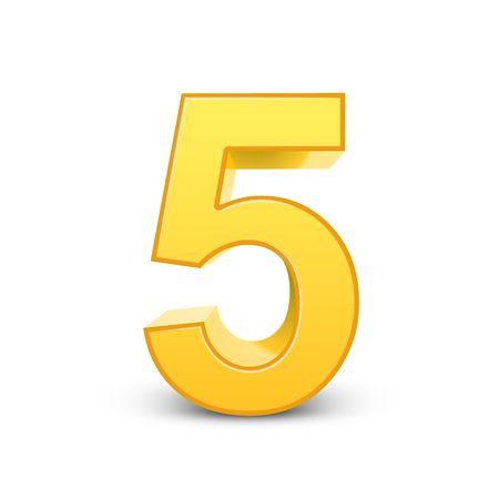 number 5: 3D image shiny yellow number 5 isolated on white background